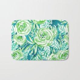 PHUNKY PHRESH Green Aqua Floral Bath Mat