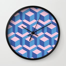 Pink and blues cubes Wall Clock