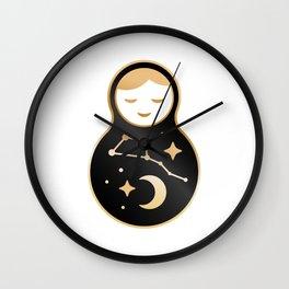 Russian doll matrioshka Babushka smiling Kawaii cute face, Stars, moon, constellation Ursa Major Wall Clock
