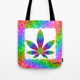 Rainbow Gems Cannabis Leaf (on White) Tote Bag