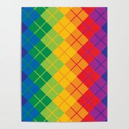 Rainbow Argyle Poster