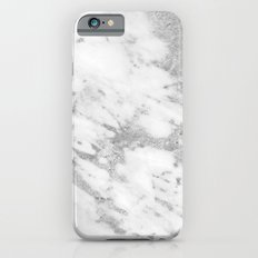 Marble - Silver and White Marble Pattern iPhone 6s Slim Case
