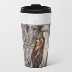 Abstract Human Figures in Gnarled Wood and White Cinder Block Metal Travel Mug