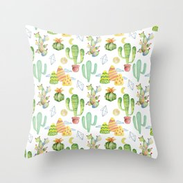 Modern green yellow geometric watercolor cactus pattern Throw Pillow