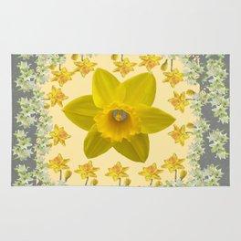 CREAMY SPRING DAFFODILS & FLOWERS GREY GARDEN Rug