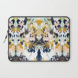 Sloane - Abstract painting in modern fresh colors navy, mint, blush, cream, white, and gold Laptop Sleeve