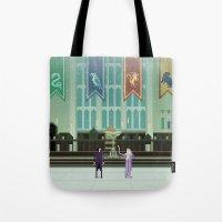 hogwarts Tote Bags featuring Hogwarts by FuliFuli