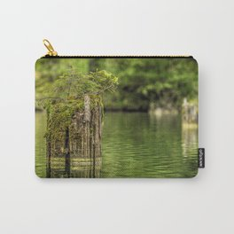 Lonely pine sprout on an old tree trunk in a lake Carry-All Pouch