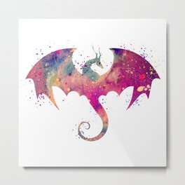Dragon Art Watercolor Print Dragon Nursery Decor Home Decor Dragon Poster Purple Kids Room Decor Metal Print