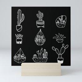 Minimalist Cacti Collection White on Black Mini Art Print