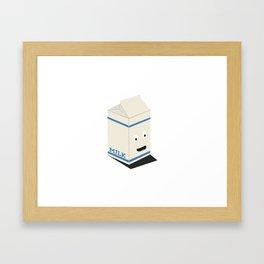 Cute kawaii milk carton Framed Art Print