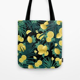 Summer Lemon Twist Jungle Night #1 #tropical #decor #art #society6 Tote Bag