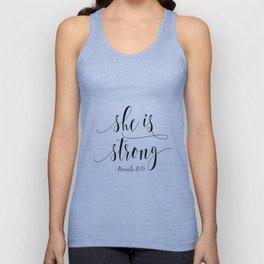 SHE IS STRONG, Proverbs 31 : 25,Nursery Girls,Gift For Her,Women Gift,Feminism Gift,Bedroom Decor Unisex Tank Top