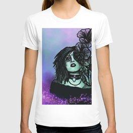Azura   Portrait   Poppies   Galaxy   Stars   Space   Flowers   Woman T-shirt