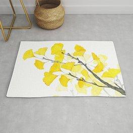 Golden Ginkgo Leaves Rug