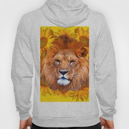 YELLOW TAWNY AFRICAN LION & GOLDEN SUNFLOWERS Hoody