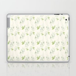 Hand painted watercolor pastel green ivory leaves floral Laptop & iPad Skin