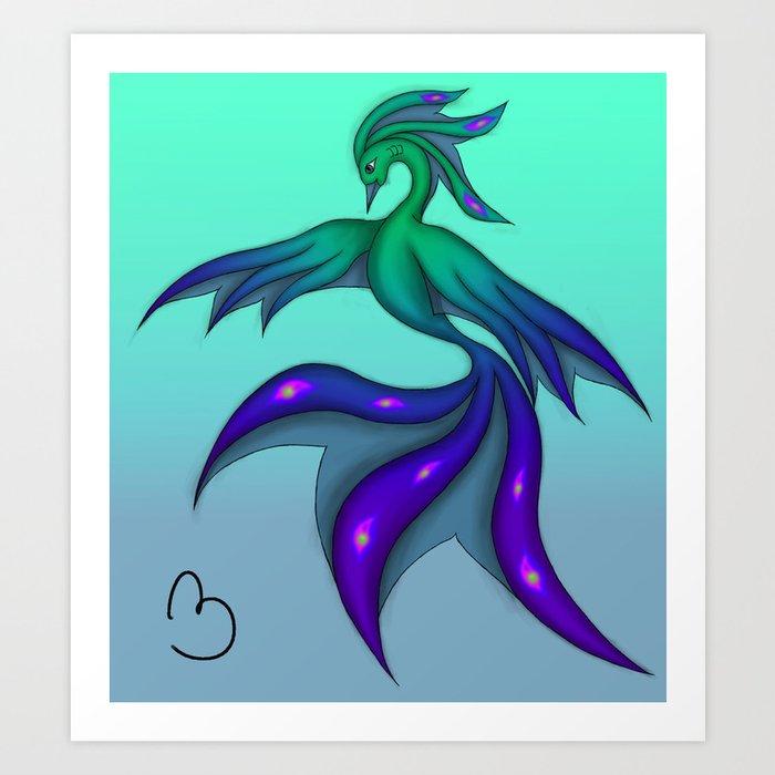Peacock Water Phoenix Art Print