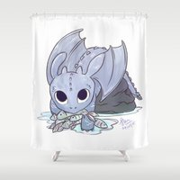 how to train your dragon Shower Curtains featuring Toothless - How to Train Your Dragon (transparent background)  by SunArt