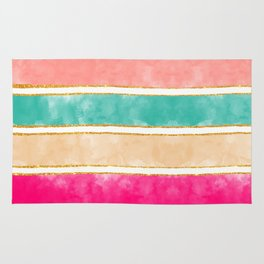 Modern Stripes Pink Red Watercolor Gold Glitter Rug