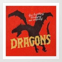 dragons Art Prints featuring Dragons by WEAREYAWN