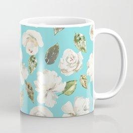 Modern Aqua Blue White Watercolor Floral Coffee Mug