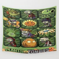 zombies Wall Tapestries featuring ZOMBIES VS PLANTS by Acus