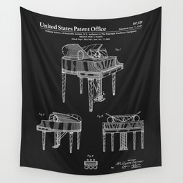 Piano Patent - Black Wall Tapestry