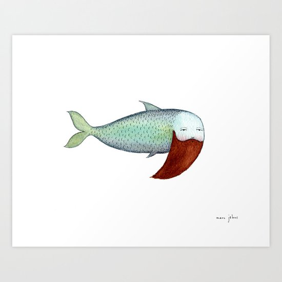 fish with beard Art Print