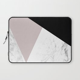 Pink, Black and Marble Geometric Laptop Sleeve