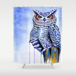 Blue Great Horned Owl Shower Curtain