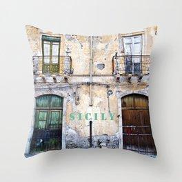 Antique Facade of Sicily Throw Pillow