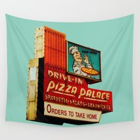 pizza Wall Tapestries featuring Pizza by Hazel Bellhop