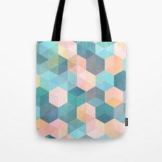 Child's Play 2 - hexagon pattern in soft blue, pink, peach & aqua Tote Bag