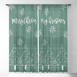 Merry Christmas Green Sheer Curtain