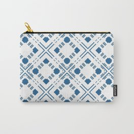 Blue and white geometric pattern . Carry-All Pouch