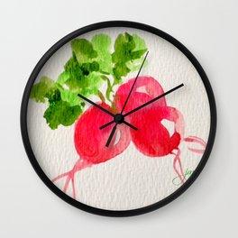 Watercolor Radishes Wall Clock