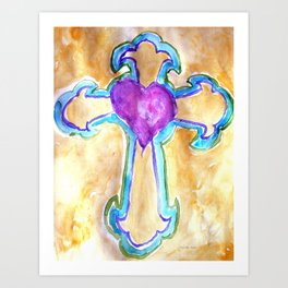 Heart Cross watercolor by CheyAnne Sexton Art Print