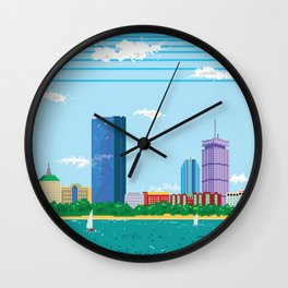 Pixel Boston Skyline Wall Clock