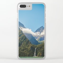 Majestic Stirling Falls, Milford Sound, Fiordland, South Island, New Zealand Clear iPhone Case