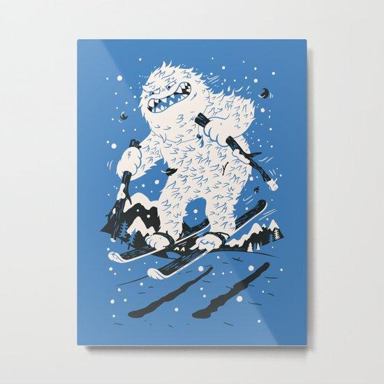Skiing Yeti Metal Print