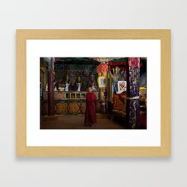 Monk in great hall Framed Art Print