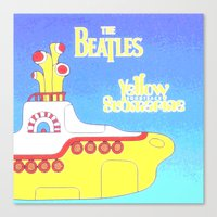 yellow submarine Canvas Prints featuring submarine by Emma Kennedy