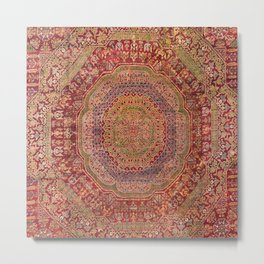 Bohemian Medallion III // 15th Century Old Distressed Red Green Purple Lavender Ornate Rug Pattern Metal Print