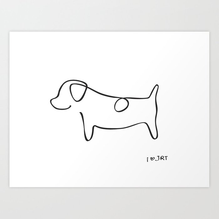 Abstract jack russell terrier dog line drawing art print