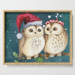 Cute Christmas Winter Owl Couple Painting Serving Tray