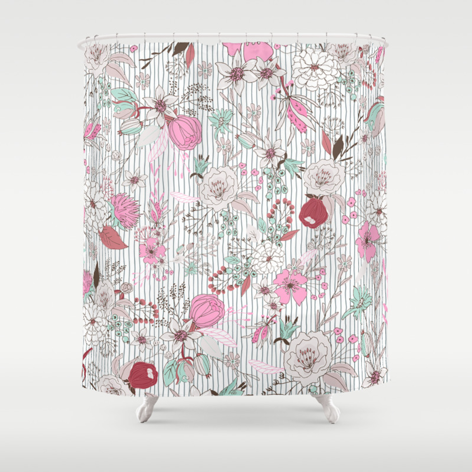 Mauve Pink Pastel Green Rustic Floral Gray Stripes Shower Curtain