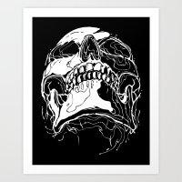 Carnibal / Ink Skull / White Art Print