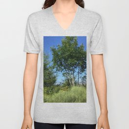 Trees and the mountain Unisex V-Neck