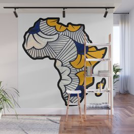 Blue and Gold floral Africa Map Wall Mural